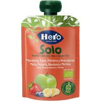 Solo fruta 100% eco de manzana-fresa-plátano HERO, doypack 100 g