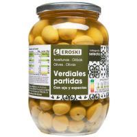 Aceitunas con ajo-especias EROSKI, frasco 850 g