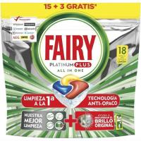 Lavavajillas máquina limón FAIRY Platinum Plus, bolsa 18 dosis