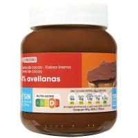 Crema cacao 1 sabor 4% avellana sin palma EROSKI, frasco 400 g