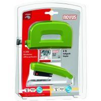 Set grapadora E15 +perforadora E210 verde grapas nº10 1000 grapas incluidas, NOVUS