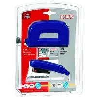 Set grapadora E15 +perforadora E210 azul grapas nº10 1000 grapas incluidas, NOVUS