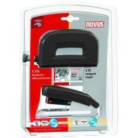 Set grapadora E15 +perforadora E210 negra grapas nº10 1000 grapas incluidas, NOVUS