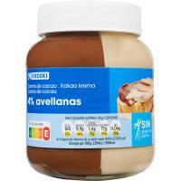 Crema cacao 2 sabores 4% avellana sin palma EROSKI, frasco 400 g