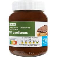 Crema cacao 1 sabor 13% avellana sin palma EROSKI, frasco 400 g