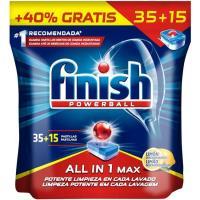 Lavavajillas limón FINISH Todo en 1, bolsa 35+15 dosis