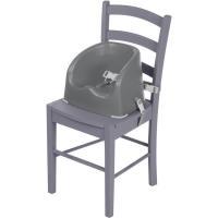Trona elevadora color gris. 2 correas de fijación para ajustarla a la mayoría de sillas y arnés de 3 puntos para sujetar al niño. Muy estable, con patas de goma en la base. Fácil de limpiar.Para niños que se mantengan solos hasta 15 kg SAFETY 1ST