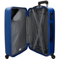 Trolley cabina ABS rígido: 4ruedas, candado, flexible, azul ROLL ROAD, 1ud