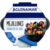 Mejillones cocidos en su jugo AGUINAMAR, bandeja 500 g