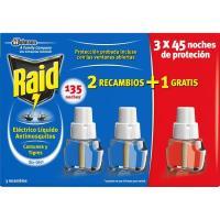 Insecticida eléctrico líquido 45 noches RAID, pack 3 uds.