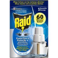 Insecticida líquido protecplus 60 noches RAID, recambio 1 ud.