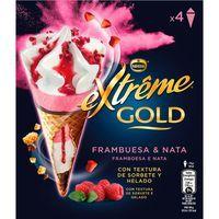 Cono extreme Gold de frambuesa NESTLÉ, 4 uds. caja 304 g