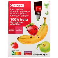 Bolsitas 100% fresa-plátano sin azúcar EROSKI, pack 4x100 g