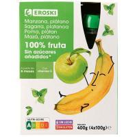 Bolsita 100% manzana-plátano EROSKI, pack 4x100 g