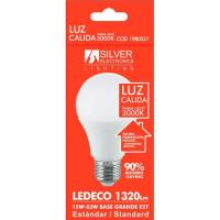 Bombilla Led eco estándar E27 15W luz cálida (3000k) SILVER, 1 ud