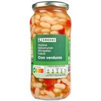 Alubias con verduras EROSKI, frasco 400 g