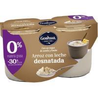 Arroz con leche 0% GOSHUA, pack 2x125 g