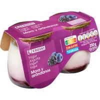 Yogur de mora-arándanos leche de Pirineos EROSKI, pack 2x125 g