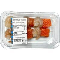 Brocheta de langostinos-salmón, unidad