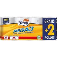 Papel higiénico FOXY Mega3, paquete 8 rollos