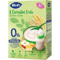 Papilla 8 cereales con fruta HERO, caja 340 g