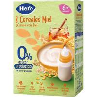 Papilla 8 cereales con miel HERO, caja 340 g