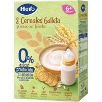 Papilla 8 cereales con galleta HERO, caja 340 g