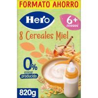 Papilla 8 cereales con miel HERO, caja 820 g