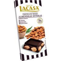 Chocolate 70% cacao con almendras LACASA, tableta 200 g