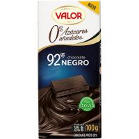 Chocolate negro 92% sin azúcar VALOR, tableta 100 g