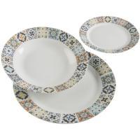 Vajilla de porcelana de 18 piezas Alfama, llanos 27cm, hondos 23cm, postre 19cm