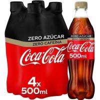 Refresco cola sin cafeína COCA COLA Zero Zero, pack 4x50 cl