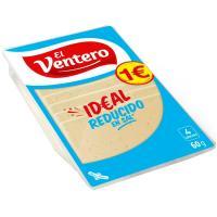 Queso tierno bajo en sal EL VENTERO, lonchas, bandeja 80 g
