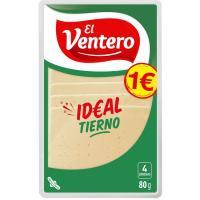Queso tierno EL VENTERO, lonchas, bandeja 80 g