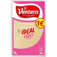 Queso tierno light EL VENTERO, lonchas, bandeja 80 g