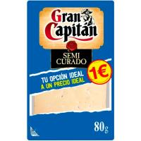 Queso semi GRAN CAPITÁN, lonchas, bandeja 80 g