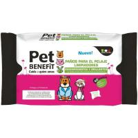 Toallitas higiene pelaje brillante PET BENEFIT, paquete 40 uds.