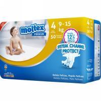 Pañal premium 9-15 kg Talla 4 MOLTEX, paquete 50 uds.