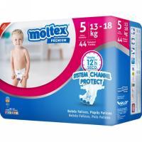 Pañal premium 13-18 kg Talla 5 MOLTEX, paquete 44 uds.