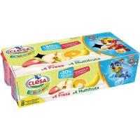 Yogur de fresa-multifruta crecimiento CLESA, pack 8x120 g