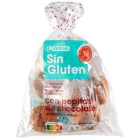 Magdalenas con pepitas de choco sin gluten EROSKI, paquete 180 g