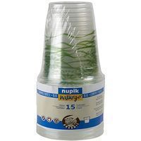 Vasos Pla compostables 250cc  NUPIK, paquete 15 uds