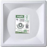 Plato compostable de pulpa de celulosa cuadrado NUPIK, 26cm, 10uds