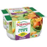 Postre de soja de lima-mandarina SOJASUN, pack 4x100 g