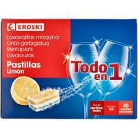 Pastillas lavavajillas Todo en 1 limón EROSKI, caja 50 dosis