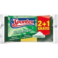 Estropajo de fibra con esponja SPONTEX, pack 2+1 uds.