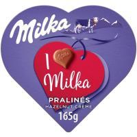 Bombón I Love relleno con crema avellana MILKA, caja 165 g