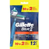 Maquinilla desechable GILLETTE Blue II Plus, pack 10+2 uds.