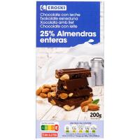 Chocolate con leche-almendras enteras EROSKI, tableta 200 g
