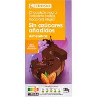 Chocolate negro almendras sin azúcar EROSKI, tableta 125 g